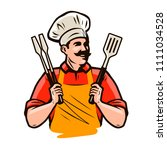 chef or happy cook holding a... | Shutterstock .eps vector #1111034528