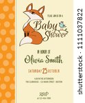 baby shower card with cute... | Shutterstock .eps vector #1111037822