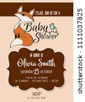 baby shower card with cute... | Shutterstock .eps vector #1111037825
