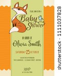 baby shower card with cute... | Shutterstock .eps vector #1111037828
