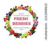 berries round frame. vector...   Shutterstock .eps vector #1111040612