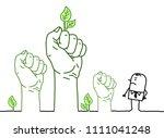 big green hands with cartoon... | Shutterstock .eps vector #1111041248
