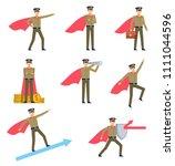 set of policeman character in... | Shutterstock .eps vector #1111044596