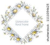 floral frame. camomile... | Shutterstock . vector #1111054625