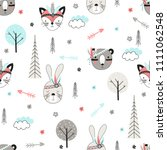 seamless pattern with cute... | Shutterstock .eps vector #1111062548