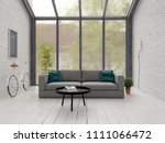 loft style interior design 3 d... | Shutterstock . vector #1111066472
