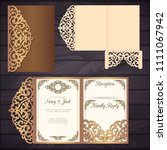 laser cut wedding trifold... | Shutterstock .eps vector #1111067942