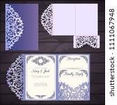 laser cut wedding trifold... | Shutterstock .eps vector #1111067948