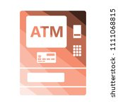 atm icon. flat color design.... | Shutterstock .eps vector #1111068815