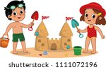 two little kids having fun on... | Shutterstock .eps vector #1111072196