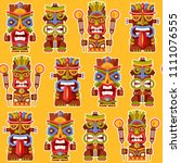 multi colored tiki totem poles. ... | Shutterstock .eps vector #1111076555