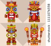 set of 4 multi colored tiki... | Shutterstock .eps vector #1111076558