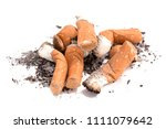 pile of cigarette butts and ash ...   Shutterstock . vector #1111079642