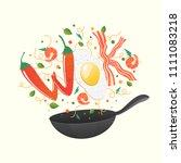 wok logo for thai or chinese... | Shutterstock .eps vector #1111083218