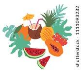 minimal summer trendy vector... | Shutterstock .eps vector #1111093232