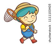 funny and cut bug catcher boy... | Shutterstock .eps vector #1111103405