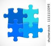 four piece puzzle. solution... | Shutterstock .eps vector #1111113395