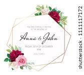wedding floral invite ... | Shutterstock .eps vector #1111117172