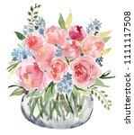 watercolor flower bouquet vase | Shutterstock . vector #1111117508