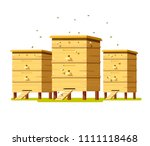 hives on the field with flowers....   Shutterstock .eps vector #1111118468
