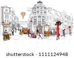 series of the street cafes with ... | Shutterstock .eps vector #1111124948