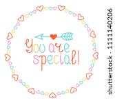 round heart frame. you are... | Shutterstock .eps vector #1111140206