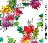 vintage vector floral seamless...   Shutterstock .eps vector #1111147148