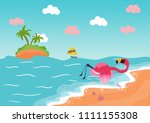 flamingo by the sea | Shutterstock . vector #1111155308