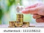 white house or home model on... | Shutterstock . vector #1111158212