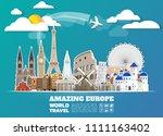 europe famous landmark paper... | Shutterstock .eps vector #1111163402