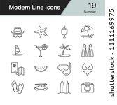 summer icons. modern line... | Shutterstock .eps vector #1111169975