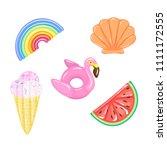 set of flamingo  rainbow ... | Shutterstock .eps vector #1111172555