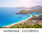 aerial view of blue lagoon in... | Shutterstock . vector #1111184312