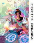 hindu goddess lakshmi in a... | Shutterstock . vector #1111185818