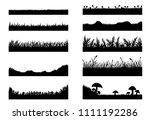 set of grass vector on white...   Shutterstock .eps vector #1111192286