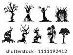 set of halloween tree by hand...   Shutterstock .eps vector #1111192412