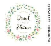beautiful pink floral wedding... | Shutterstock .eps vector #1111192868