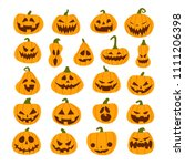 set of halloween scary pumpkins.... | Shutterstock .eps vector #1111206398