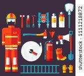 firefighter uniform and first...   Shutterstock . vector #1111218872