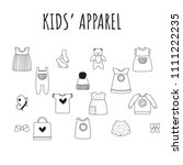 kids clothes collection ... | Shutterstock .eps vector #1111222235