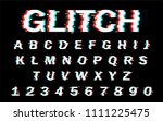 vector distorted glitch font.... | Shutterstock .eps vector #1111225475