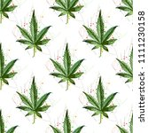 marijuana ganja weed hemp leafs ... | Shutterstock .eps vector #1111230158