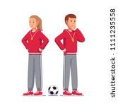 pensive soccer coach man and... | Shutterstock .eps vector #1111235558