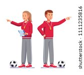 soccer coach man and woman... | Shutterstock .eps vector #1111235816