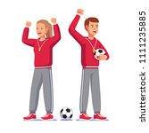soccer coach man   woman... | Shutterstock .eps vector #1111235885