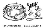 sketch of soup with mushrooms.... | Shutterstock .eps vector #1111236845