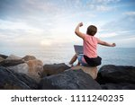 happy young asian woman... | Shutterstock . vector #1111240235