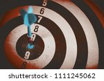 Stock photo close up shot of the dart arrow hit on bulleyes of dartboard to represent that the business reached 1111245062