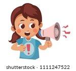cute cartoon girl shouting into ... | Shutterstock .eps vector #1111247522
