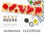 raw beef steaks  tenderloin ... | Shutterstock .eps vector #1111250102